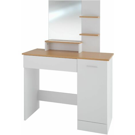 Dressing table Zoe with drawer, cupboard and storage shelves - dressing table mirror, makeup table, vanity table - white