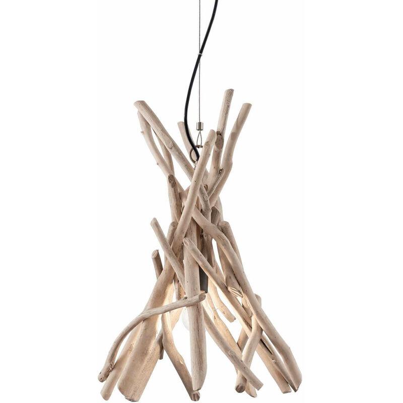 01-ideal Lux - DRIFTWOOD Holz Pendelleuchte 1 Glühbirne