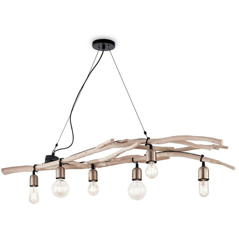 DRIFTWOOD Holz Pendelleuchte 6 Glühbirnen