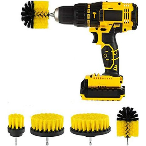 Drill Brushes Bathroom Kitchen Cleaning Supplies Household Cleaning Tool For Bathroom Surface, Grout, Tub, Shower, Kitchen, Auto, Boat 4 Pack (Drill Not Included)