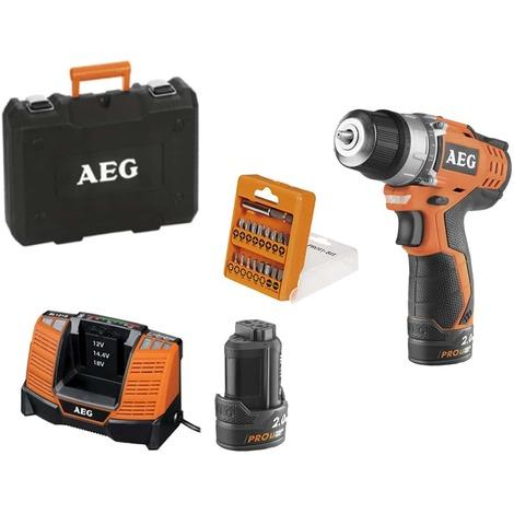 Drill-driver AEG 12V Prolithium-ion 190mm - 2 batteries 2.0Ah - 1 charger - Box 12 bits - BS12C2 LI-202CKIT2