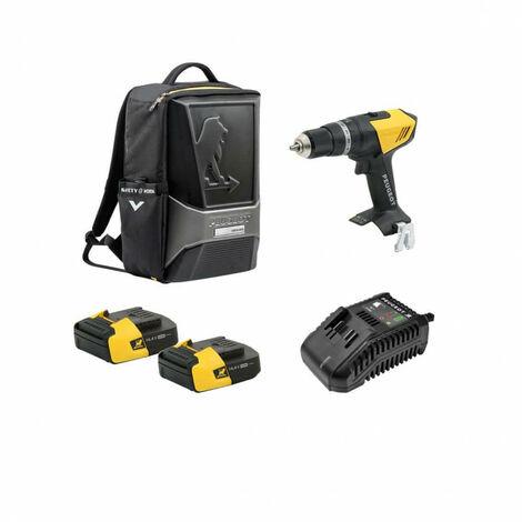 Drill Pack PEUGEOT ENERGYDRILL-14V15 - 2 baterías 14.4V 1.5 Ah - 1 cargador - mochila ORIGINS 250310-250300