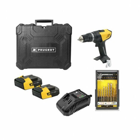 Drill Pack PEUGEOT ENERGYDRILL-14V15 - 2 batteries 14.4V 1.5 Ah - 1 charger - box 37 pieces 250310-190596