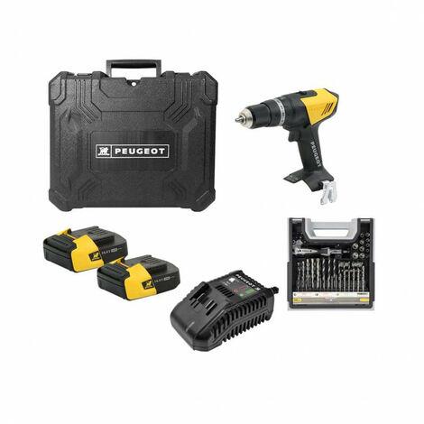 Drill Pack PEUGEOT ENERGYDRILL-14V15 - 2 pilas 14.4V 1.5 Ah - 1 cargador - Caja mixta 108 piezas 250310-190646