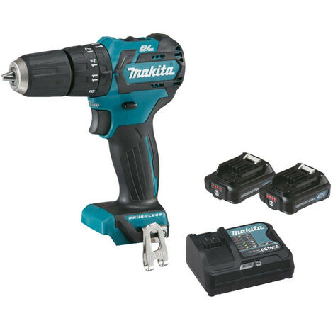 Drill screwdriver with brushless percussion MAKITA 12V CXT - 2 batteries BL1020B 2.0Ah - 1 charger DC10SA HP332DSAJ