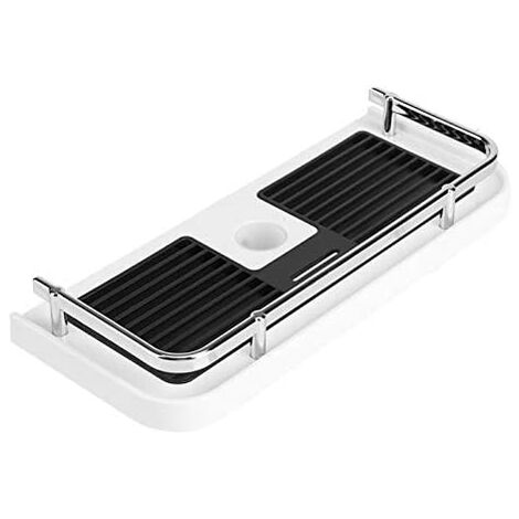 Drillless Shower Shelf for Shower Rail, Adjustable Shelf Shower Bar, Bathroom Shampoo Soap Organizer with 2 Hooks, For 22-25mm Rail