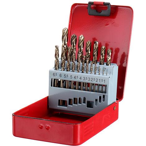 Drillpro 19 piezas M35 HSS-Co Jobber Juego de brocas de cobalto Brocas helicoidales de longitud con caja de metal para madera de acero inoxidable