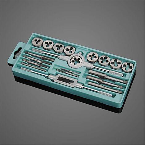 Drillpro 20 pièces ensemble de tarauds et de matrices à main métrique M3-M12 bouchons de filetage à vis outils d'alésoir conique droit tarauds réglables matrices clé