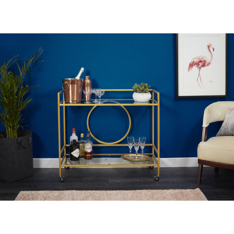 Image of Drinks Trolley with Circle Backing- Gold Powder Coat