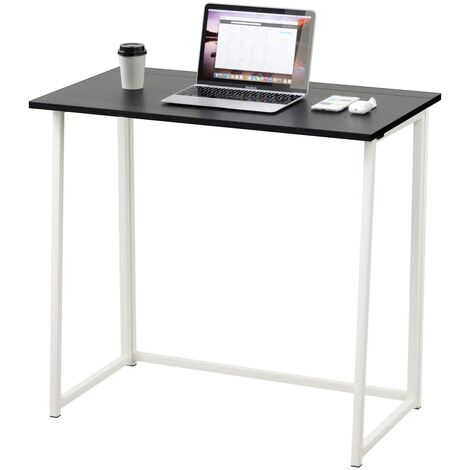 Dripex Compact Folding Desk Required Computer Desk Folding Hobby Craft Table (Black)