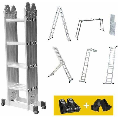 DRIPEX Echelle multifonction, Échelle Pliante, de 1,25 à 4,7 m, 6 en 1, Échelle Télescopique en Aluminium, 16 Échelons+2 Panneaux