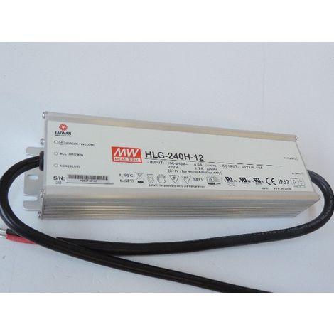 Driver LED 230V AC / 12V DC puissance 240W max pour LED blanc ou RGB étanche IP67 Meanwell HLG-240H-12 TRAJECTOIRE 004672