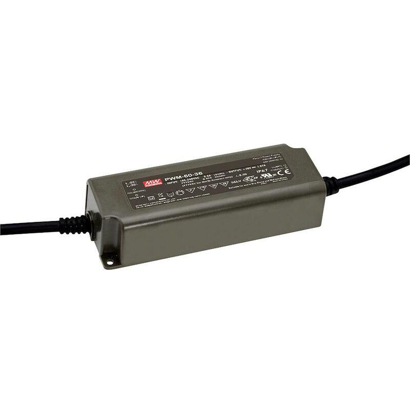 PWM-60-24 Driver per LED, Trasformatore per LED Tensione costante, Corrente costante 60 W 2.5 A 24 V/DC dimme - Mean Well