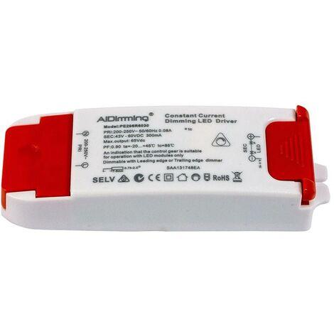 Driver TRIAC dimable de corriente constante 18W 43-60VDC 300mA