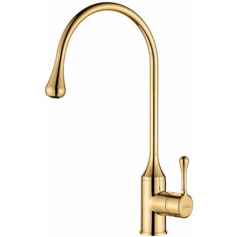 Droplet Shape Spout Gold Colour Kitchen Sink Mixer Faucet Tall Single Lever Tap