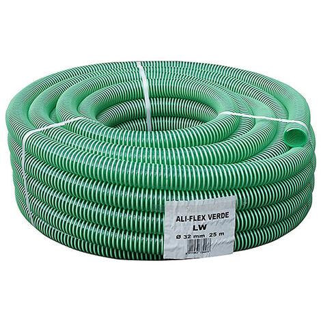 """Druck- Saugschlauch grün mit weisser PVC Spirale 1 1/4"""" Rolle 25 Meter knickfest"""