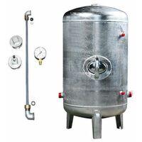Druckbehälter 100 bis 500L 6 bar senkrecht mit Zubehör verzinkt Druckkessel für Hauswasserwerk