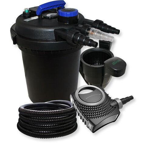 Druckfilter Set aus 10000l Filter, UVC Klärer mit 11W, 70W Pumpe, 25m Schlauch und Skimmer