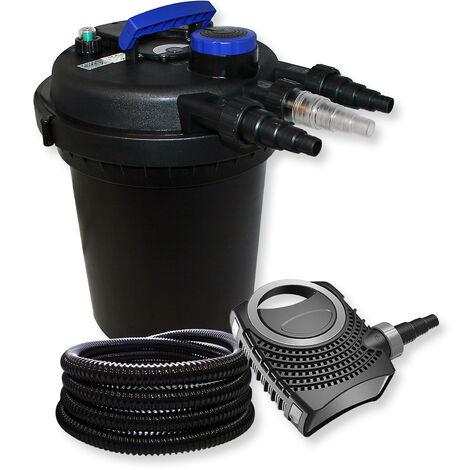 Druckfilter Set aus 10000l Filter, UVC Teichklärer mit 11W, 70W Pumpe und 25m Schlauch