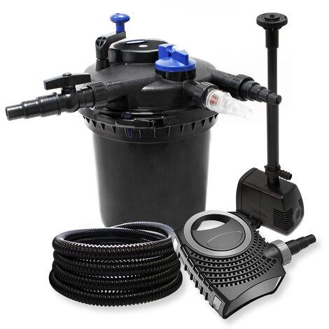 Druckfilter Set aus 30000l Filter, 18W UVC Teichklärer, 70W Pumpe, Schlauch und Springbrunnenpumpe