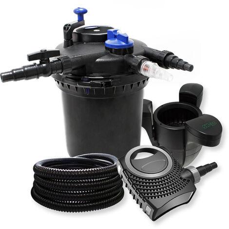 Druckfilter XXL Set aus 30000l Filter, 18W UVC Teichklärer, 70W Pumpe , 25m Schlauch und Skimmer