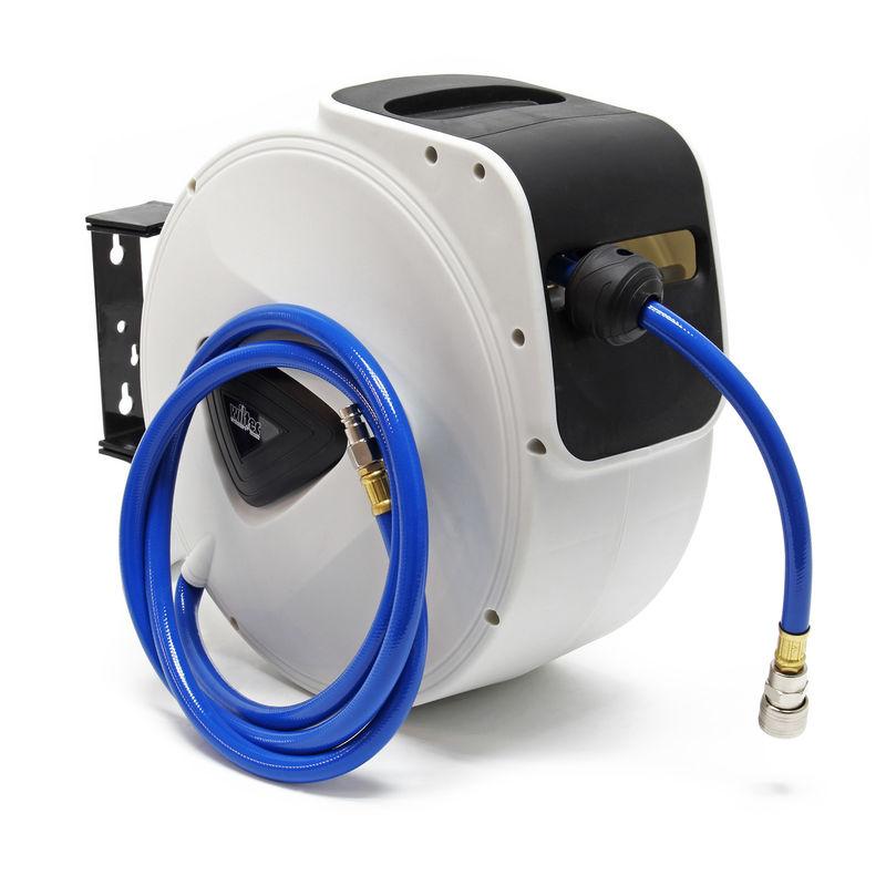Druckluft-Schlauchtrommel 15m Schlauchaufroller Wandmontage Aufroller Automatik