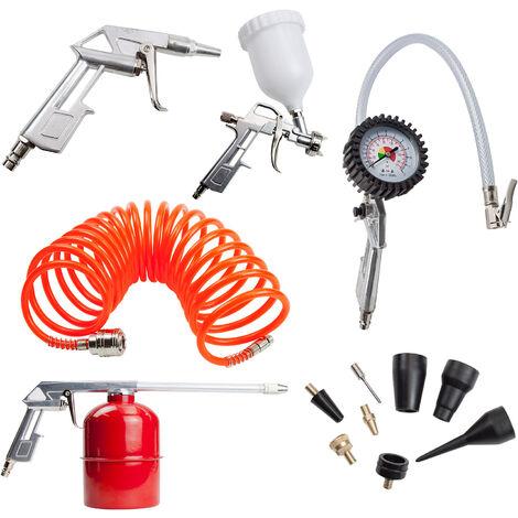 Druckluftwerkzeug Druckluftset Kompressor DL-Werkzeug Reifenfüller Set 13-TLG