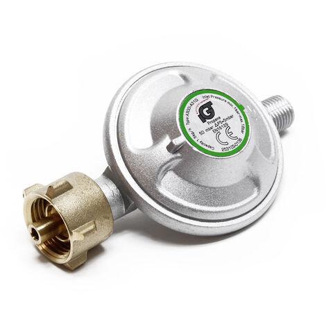 Druckminderer auf 50mbar, reguliert 1,5kg/h, für Gaszylinder mit 21,8x1,14L