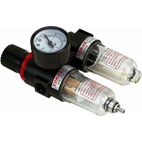Druckminderer mit Manometer Wartung einheit1/4 Druckluft Wasserabscheider Druckregler für Kompressor , Pneumatik Gasregler Filter Prozessor