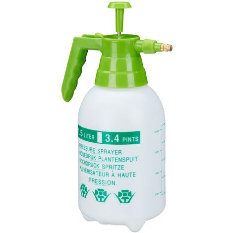 Drucksprüher, 1,5 Liter, einstellbare Messingdüse, Garten, Bewässerung, Schädlingsbekämpfung, PE, weiß/grün