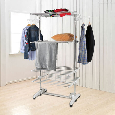Drying Rack, Airer, 4 Shelves, White, with Wings, Material: Stainless Steel Tubes