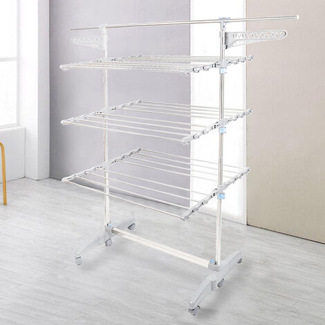 Drying Rack, Clothes Rack, 3 Shelves, With Wings and Extended Top Bar, Material: Stainless Steel Tubes