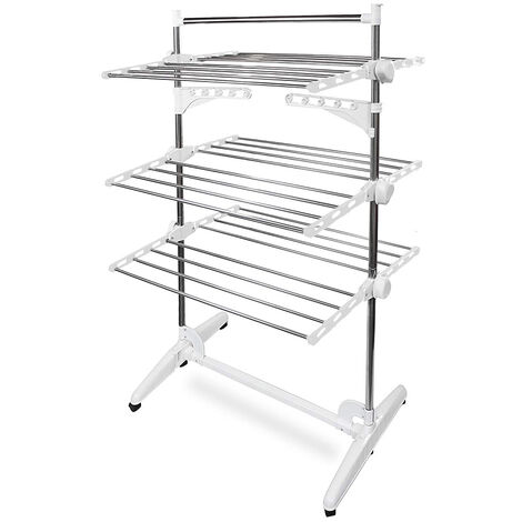 Drying Rack, Clothesline, 3 Shelves, White, with Wings and Top Bar, Material: Stainless Steel Tubes