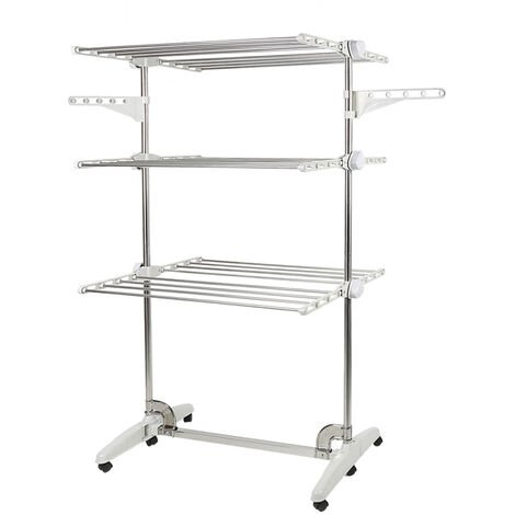 Drying Rack, Clothesline, Airer, 3 Shelves, White, with Wings