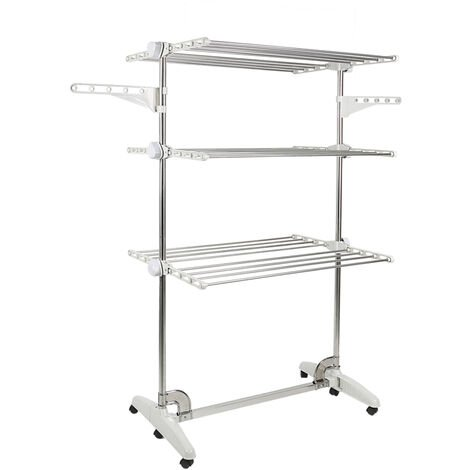 Drying Rack, Clothesline, Airer, 3 Shelves, White, with Wings, Material: Stainless Steel Tubes