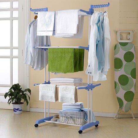Drying rack foldable with shoe rack 3 levels large capacity