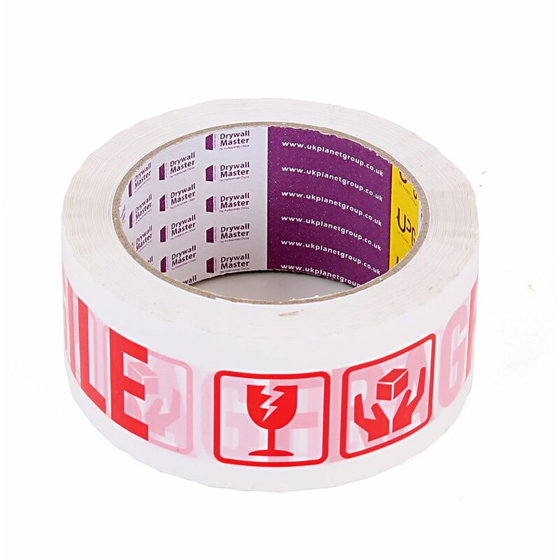 Image of Drywall Master Fragile Printed Strong Parcel Packing Box Sealing Tape 48mm x 66m