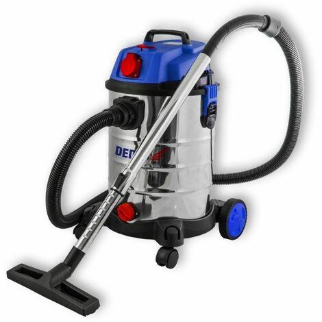 DTOOLS | Aspirateur industriel eau et poussière | 1400 W + prise 2000W | Cuve inox capacité 30 L | Aspirateur atelier | Filtre HEPA - Bleu