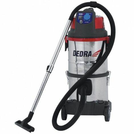 DTOOLS - Aspirateur industriel poussières - 1400 W + prise - Cuve inox capacité 20 L - Aspirateur atelier - Filtre à eau - Rouge