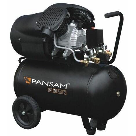 DTOOLS | Compresseur à huile 2 cylindres en V| Puissance moteur 3,06 cv | Débit 412 l/min | Cuve 50L - Noir