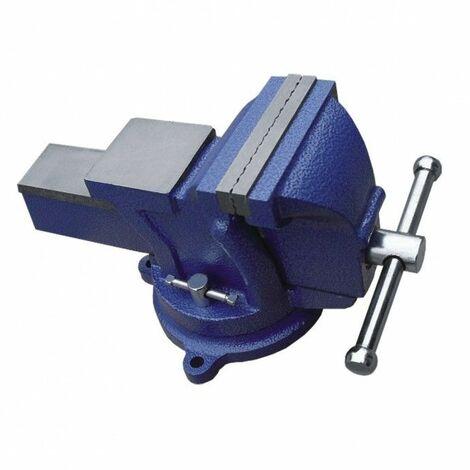 DTOOLS | Étau d'établi à base tournante | Ouverture des mors de 150 mm | En fonte | Mécanisme de serrage efficace - Bleu