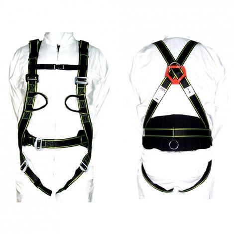 DTOOLS - Harnais de sécurité pour travaux en hauteur - Taille universelle - 2 point d'attache - Ceinture abdominale - Noir