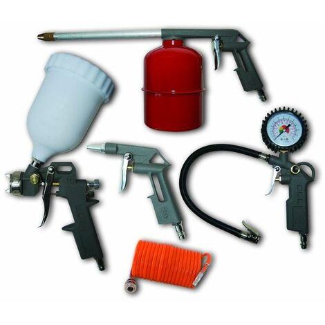 DTOOLS - Kit de 5 accessoires pour compresseur - Ensemble de 5 outils pneumatiques pour compresseur d'air - Accessoires air compirmé - Rouge