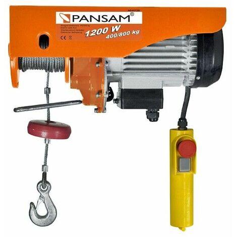 DTOOLS   Palan éléctrique   Treuil de levage   Charge maximale 400 kg/800kg   Puissance nominale 1200 W - Orange