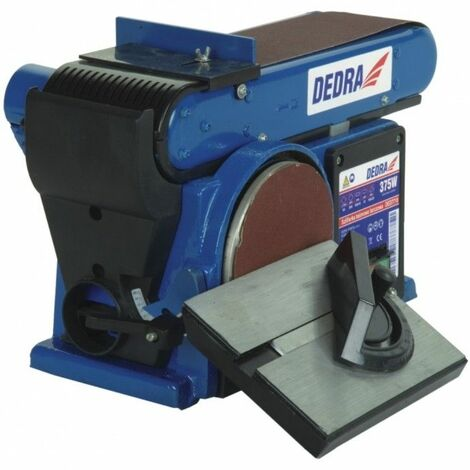 DTOOLS - Ponceuse combinée à bande et à disque - Puissance nominale 375W - Ponçage fin + chantournage - Usinage bois - Atelier - Bleu