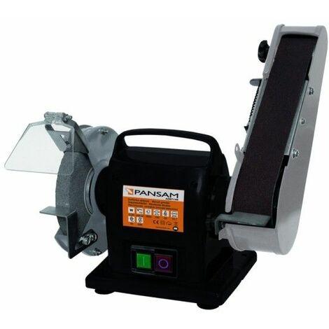 DTOOLS - Ponceuse stationnaire 200 W - Ponceuse à bande et à disque - Bande de 50 x 686 mm - Dimaètre disque 150 mm - Noir
