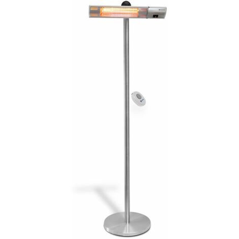 DTOOLS | Radiateur à infrarouge | Lampe Chauffante Infrarouge | Puissance : 2000W | Chauffage jardin/balcon/terasse - Argent