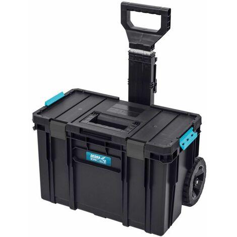 DTOOLS - Servante porte outils - Boîte à outils mobile - 526x380x670mm - Roulette + poignée téléscopique - Organiseur Intégré - Noir