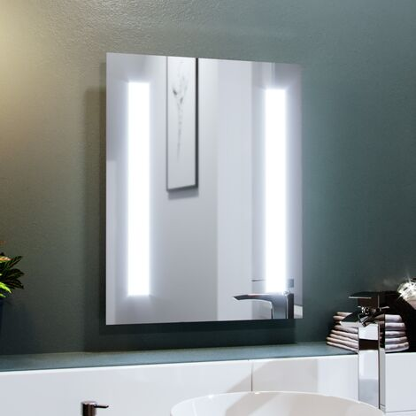 Dual Bar LED 390 x 500mm Battery powered Bathroom Mirror
