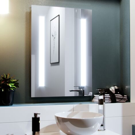 Dual Bar LED 500 x 700mm Battery powered Round Corner Bathroom Mirror